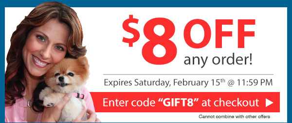 Use code GIFT8 for $8 Off. Expires February 15th, 2014 at 11:59 PM!
