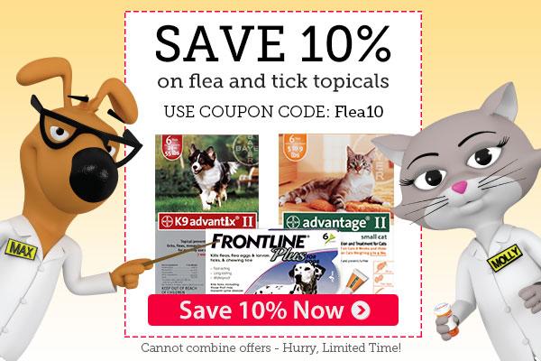 Top brands of Flea & Tick topicals are 10% OFF
