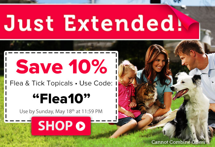 Use code Flea10 for 10% Off flea & tick topicals. Limited time!
