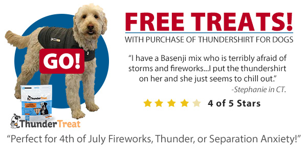 Free Treats with the purchase of a ThunderShirt for dogs
