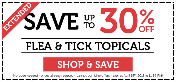 EXTENDED! Save up to 30% off on flea & tick topicals