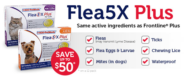 Flea5X Plus - Same active ingredients as Frontline Plus