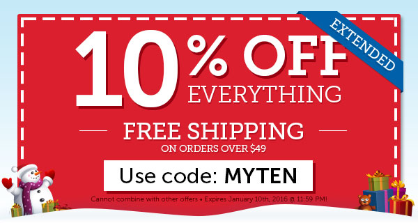 EXTENDED: 10% OFF Everything + FREE Shipping