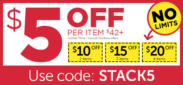$5 OFF every item over $42+