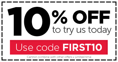10% OFF to try us today!