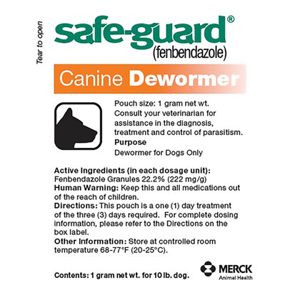 Safe-Guard Canine Dewormer Three 1 Gram Packages Thumbnail Image 1