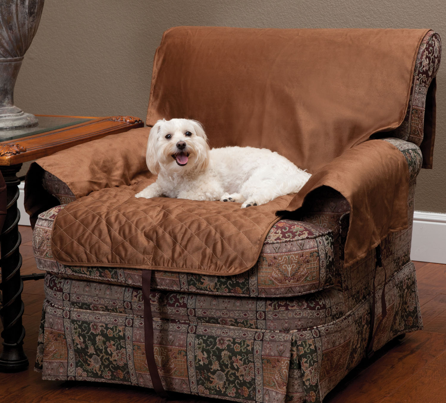 Solvit Sta-Put Full-Coverage Pet Chair Protector Cocoa Thumbnail Image 1