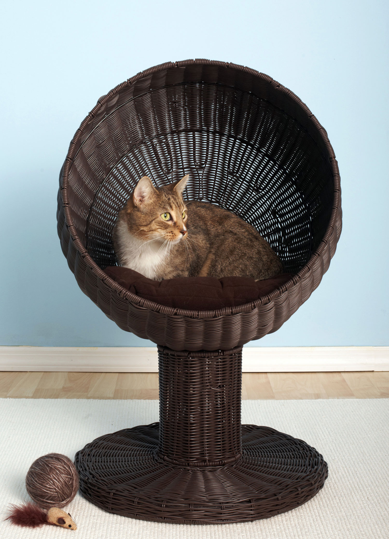 the refined feline kitty ball luxury wicker cat bed