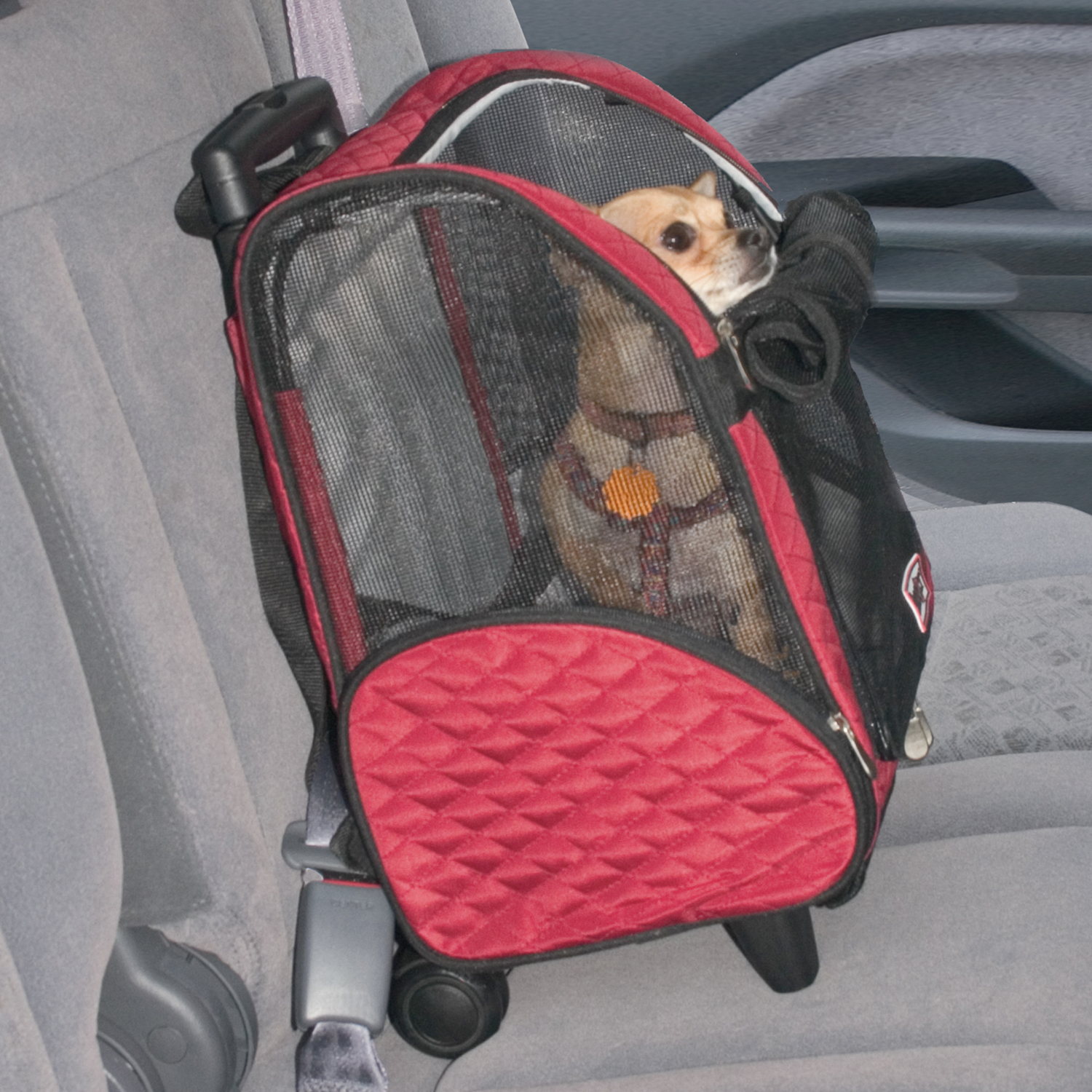 Roll Around Travel Pet Carrier - Med Red/back Thumbnail Image 2