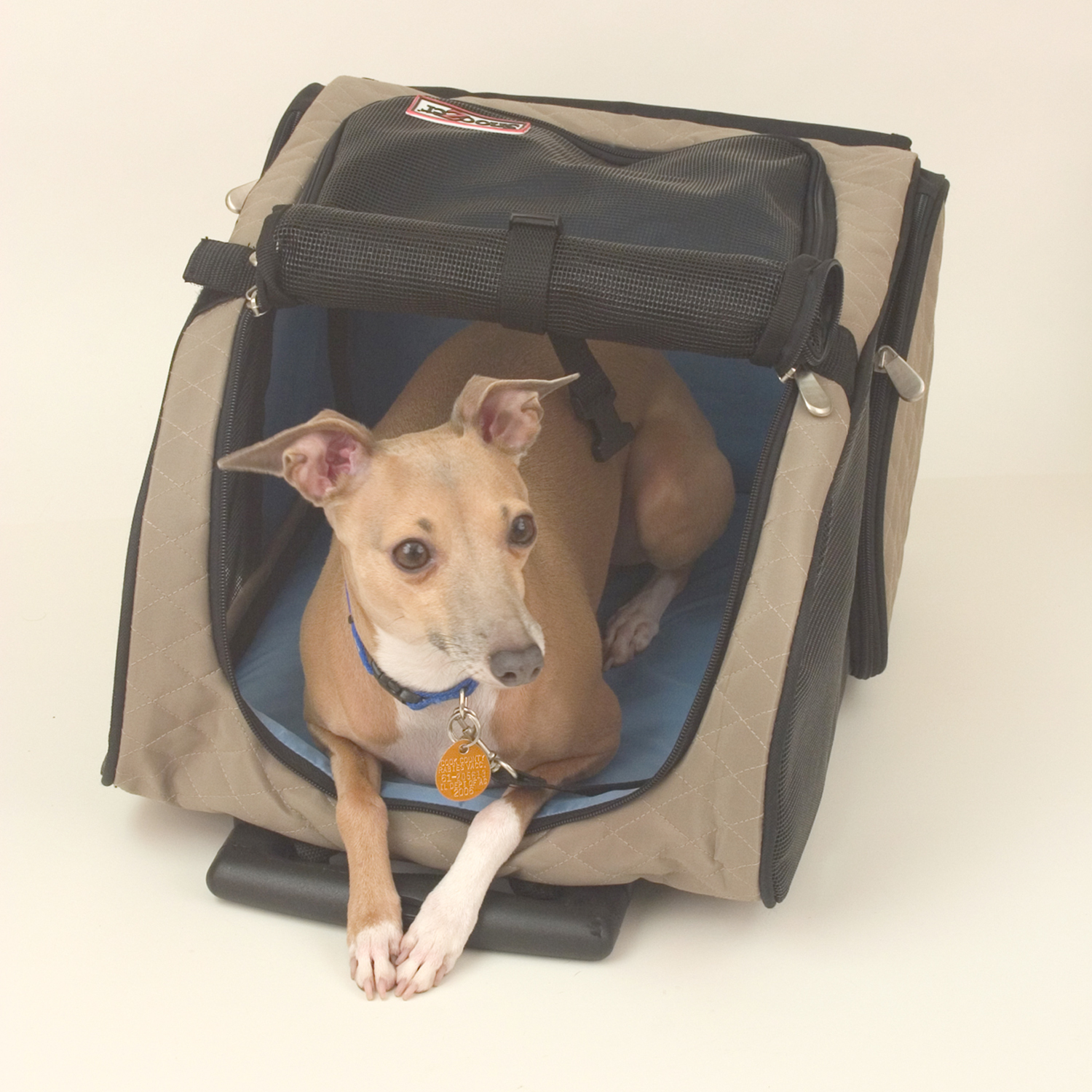 Roll Around Travel Pet Carrier - Med Khaki/blue Thumbnail Image 3
