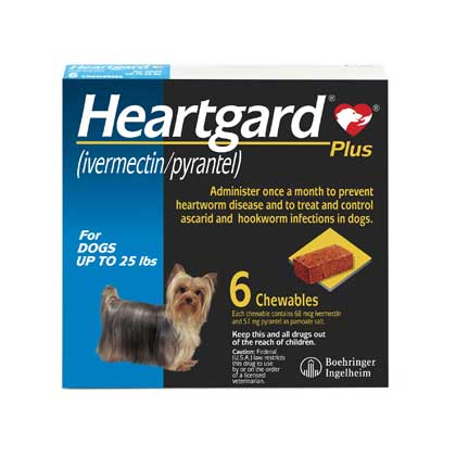 Heartgard Plus Chewables 6pk Blue 1-25 lbs