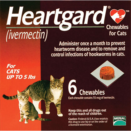 Heartgard Chewables for Cats 6pk Red 1-5 lbs