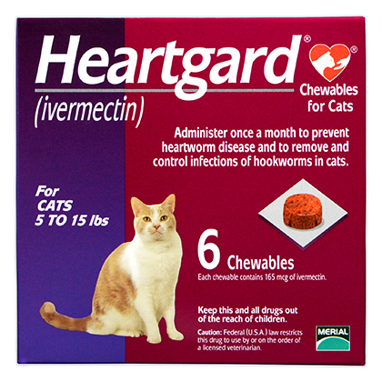 Heartgard Chewables for Cats 6pk Purple 5-15 lbs