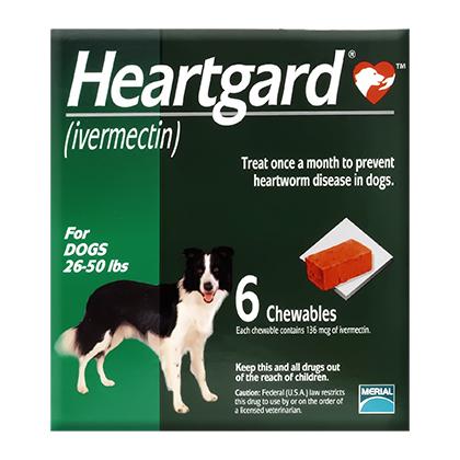 Dog Heartgard Chewables 6pk Green 26-50 lbs