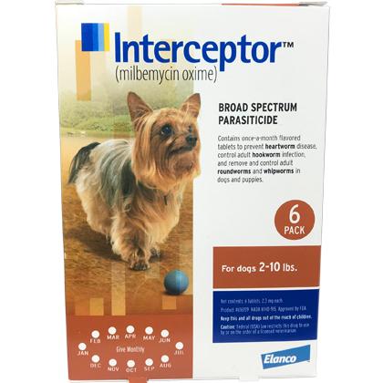 Interceptor 6pk Brown Dogs 2-10 lbs