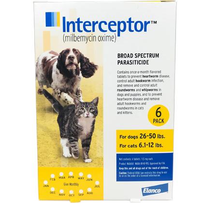 Interceptor 6pk Yellow Dog 26-50 lbs or Cat 6.1-12 lbs