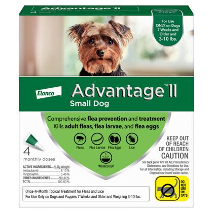 Advantage II 4pk Dog 3-10 lbs
