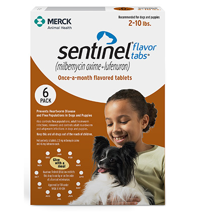 Sentinel 6pk Brown 2-10lbs Flavor Tabs for Dogs