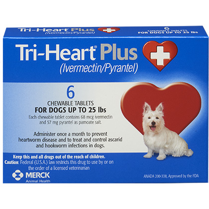 Tri-Heart Plus - Generic to Heartgard Plus 6pk Blue 1-25 lbs
