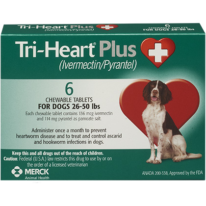 Tri-Heart Plus - Generic to Heartgard Plus 6pk Green 26-50 lbs