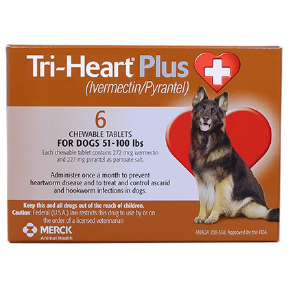 Tri-Heart Plus - Generic to Heartgard Plus 6pk Brown 51-100 lbs
