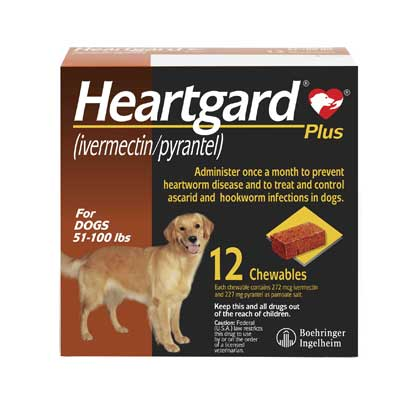Heartgard Plus Chewables 12pk Brown 51-100 lbs