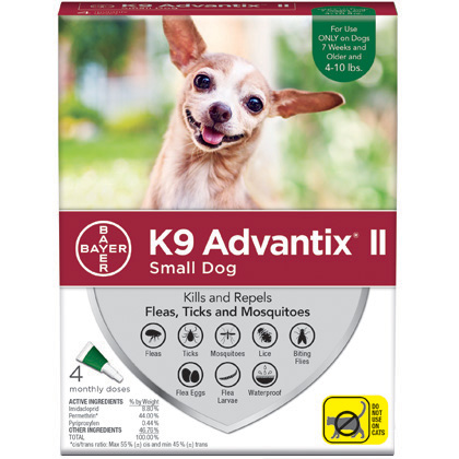 K9 Advantix II 4pk Green Dog 4-10 lbs