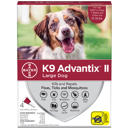 K9 Advantix II 4pk Red Dog 21-55 lbs