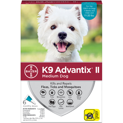 K9 Advantix II 6pk Teal Dog 11-20 lbs by BAYER