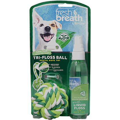 TropiClean Fresh Breath Tri-Floss Rope Ball with Liquid Floss (Click for Larger Image)