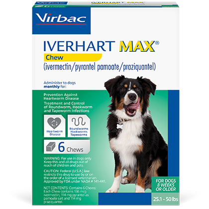 Iverhart Max Chewable Tablets For Dogs 25.1-50lbs 6pk