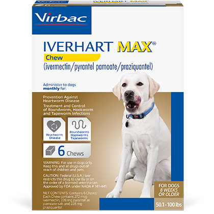 Iverhart Max Chewable Tablets For Dogs 50.1-100lbs 6pk