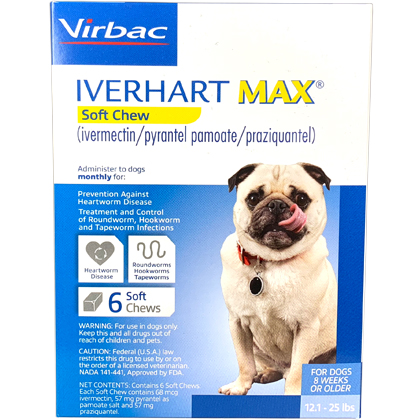 Iverhart Max Chewable Tablets For Dogs 12.1-25lbs 12pk