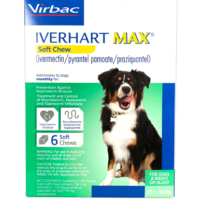 Iverhart Max Chewable Tablets For Dogs 25.1-50lbs 12pk
