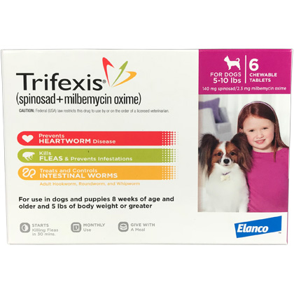 Manufacturer: Elanco US (spinosad + milbemycin oxime) Chewable Tablets. Trifexis Caution. Federal (USA) law restricts this drug to use by or on the order of a licensed veterinarian.