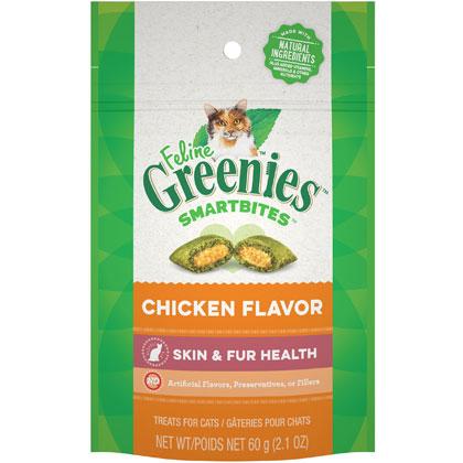Image of Feline Greenies SmartBites Healthy Skin & Fur Chicken Flavor Treats 2.1 oz by S & M NUTEC
