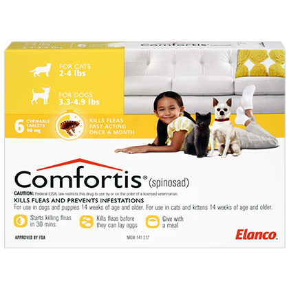 Comfortis 3.3-4.9 lbs 90mg Dog & Cat Flea Preventative 6pk