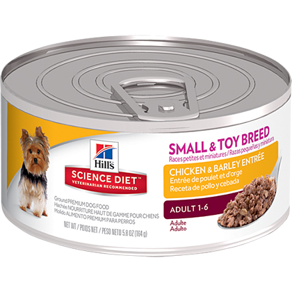 Hill's Science Diet Adult Small & Toy Breed Chicken & Barley Entrée Canned Dog Food (Click for Larger Image)
