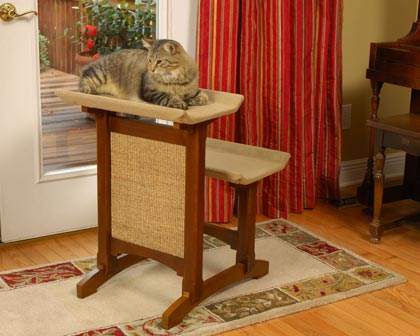 Mr. Herzher's Double Cat Perch with Scratching Pad (Click for Larger Image)