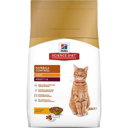 Hill's Science Diet Adult Hairball Control Light Dry Cat Food 15.5 lb bag by General Pet Supply 60595
