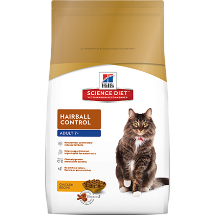 Hill's Science Diet Adult 7+ Hairball Control Dry Cat Food (Click for Larger Image)