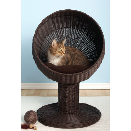 Refined Feline Kitty Ball Luxury Wicker Cat Bed (Click for Larger Image)