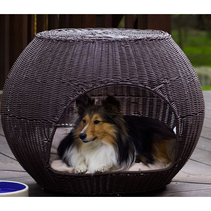 Refined Canine Igloo Outdoor Wicker Pet Bed