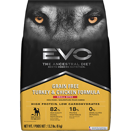 EVO Grain Free Formula Small Bites Adult Dry Dog Food (Click for Larger Image)