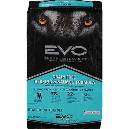 EVO Grain Free Herring & Salmon Formula Adult Dry Dog Food (Click for Larger Image)