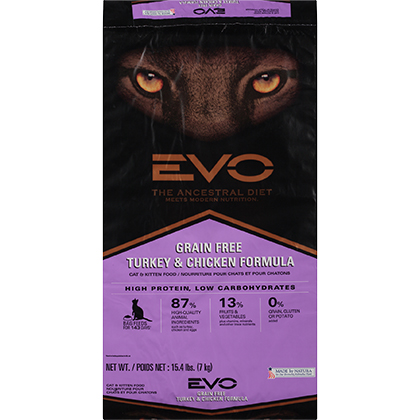 EVO Grain Free Formula Dry Cat & Kitten Food (Click for Larger Image)