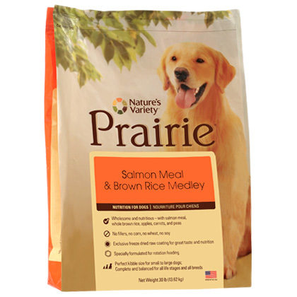 Nature's Variety Prairie Salmon Meal & Brown Rice Dry Dog Food (Click for Larger Image)