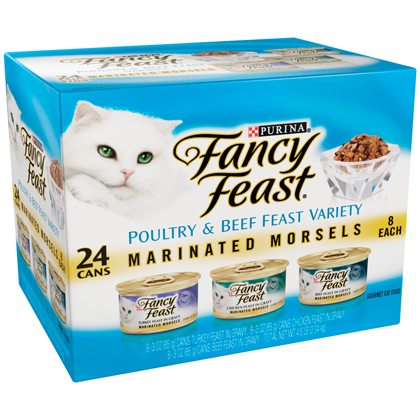 Image of Fancy Feast Cat Variety Packs Marinated Morsels Variety Pack Chicken, Beef, Turkey 24 x 3 oz by 1-800-PetMeds