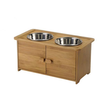 Wooden Elevated Dog Feeder And Cabinet