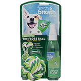 TropiClean Fresh Breath Tri-Floss Rope Ball with Liquid Floss